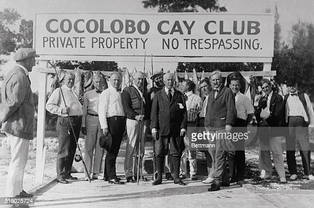 President Harding is shown here with Albert Fall and friends on a fishing trip Left to right is Carl G Fisher Fred W Uphara H P Fletcher Harry...