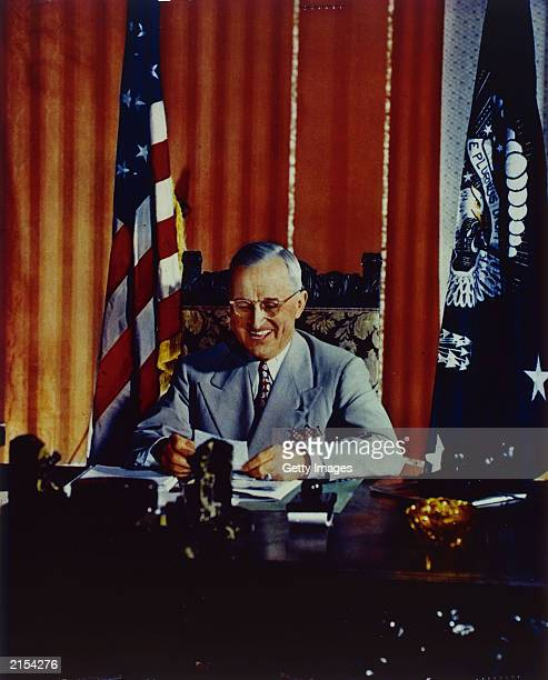 US President Harry S Truman signs the Foreign Aid Assistance Act in 1947 in Washington DC A newly discovered diary written by Truman was put on...