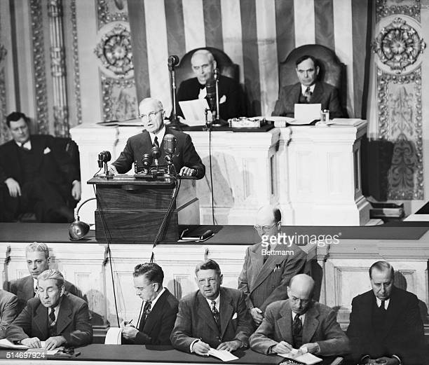 President Harry Truman addresses a joint session of Congress asking for $400 million and American military advisors for Greece and Turkey to make the...