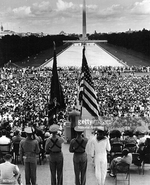 President Harry Truman addresses the NAACP convention April 19 1940 in front of the Lincoln Memorial in Washington