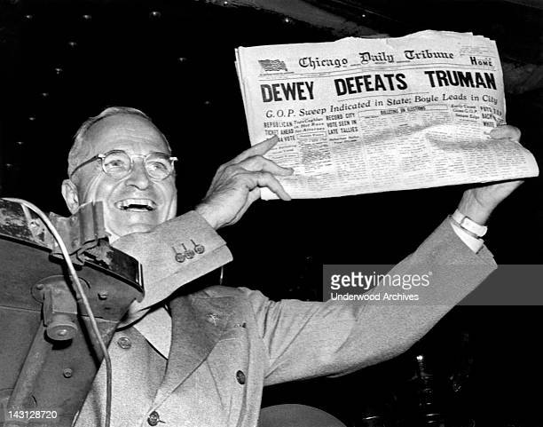 President Harry Truman holds up a copy of the Chicago Daily Tribune declaring his defeat to Thomas Dewey in the presidential election St Louis...