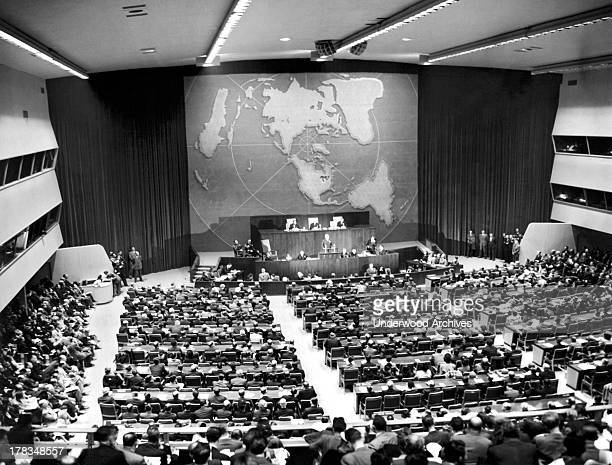 President Harry Truman makes his formal welcoming speech to the members of the UN General Assembly at its opening session in New York, New York,...