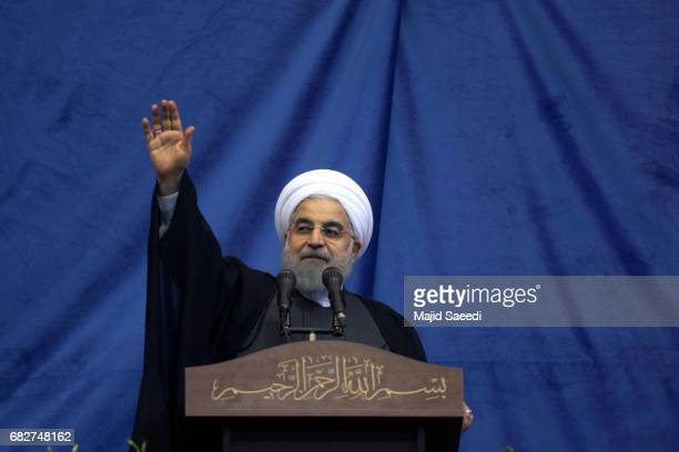 President Hassan Rouhani attends a campaign rally on May 13 2017 in Tehran Iran Presidential elections in Iran will be held on May 19th