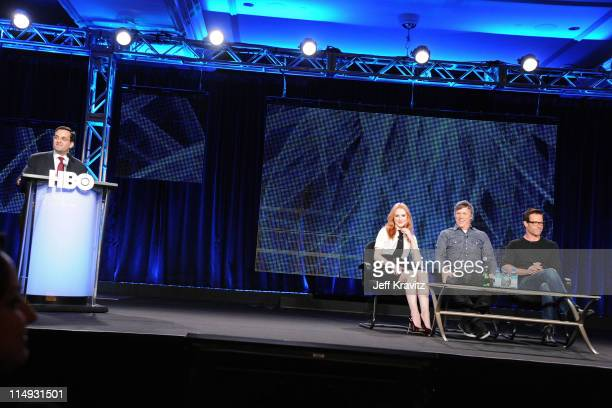 President HBO Miniseries Kary Antholis Actress Evan Rachel Wood Writer/Director/Producer Todd Haynes and Actor Guy Pearce speak at the HBO Winter...