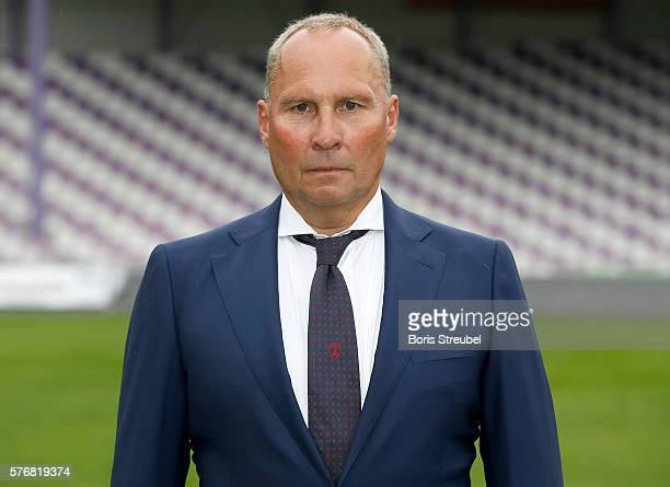 President Helge Leonhardt poses during the FC Erzgebirge Aue Team Presentation at Sparkassenerzgebirgsstadion on July 17 2016 in Aue Germany