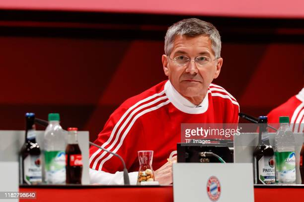 president Herbert Hainer of FC Bayern Muenchen looks on during the annual general meeting of FC Bayern Muenchen at Olympiahalle on November 15 2019...