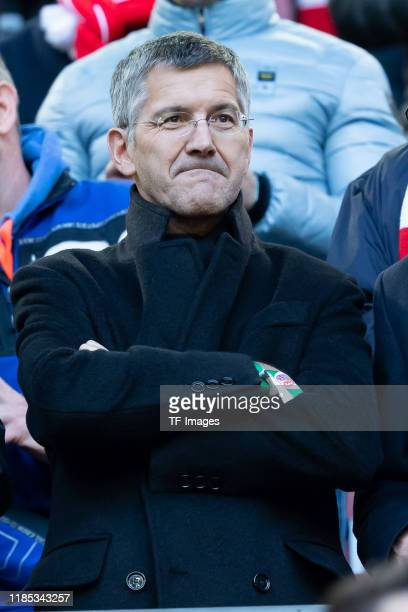 President Herbert Hainer of FC Bayern Muenchen looks on during the Bundesliga match between Fortuna Duesseldorf and FC Bayern Muenchen at Merkur...