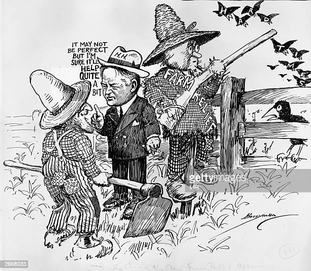 President Herbert Hoover explaining his 'farm relief programme' to a farmer. The relief programme is shown as a straw scarecrow scaring off hard...