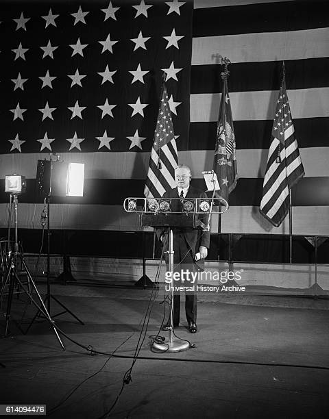 US President Herbert Hoover Making Armistice Day Address at American Legion Exercises Washington DC USA November 11 1929