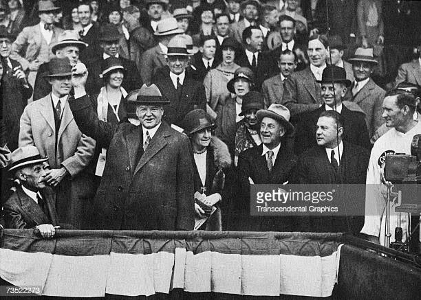 C APRIL 1930 President Herbert Hoover throws out the first ball to open the 1930 season in April at Griffith Stadium in Washington DC