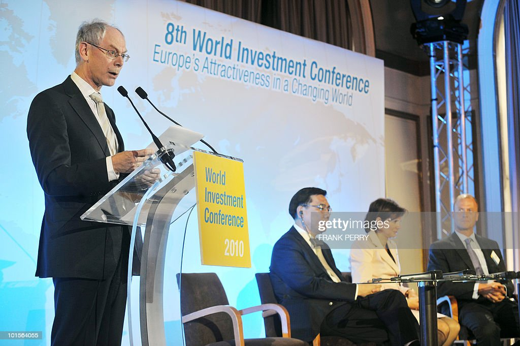 EU president Herman Van Rompuy (L) delivers a speech on June 2, 2010 during the opening ceremony of the 8th World Investment Conference (WIC) in the French western city of La Baule. Europe set out plans today to curb US-based credit rating giants and impose new rules on finance companies so as to rein in risky trading.