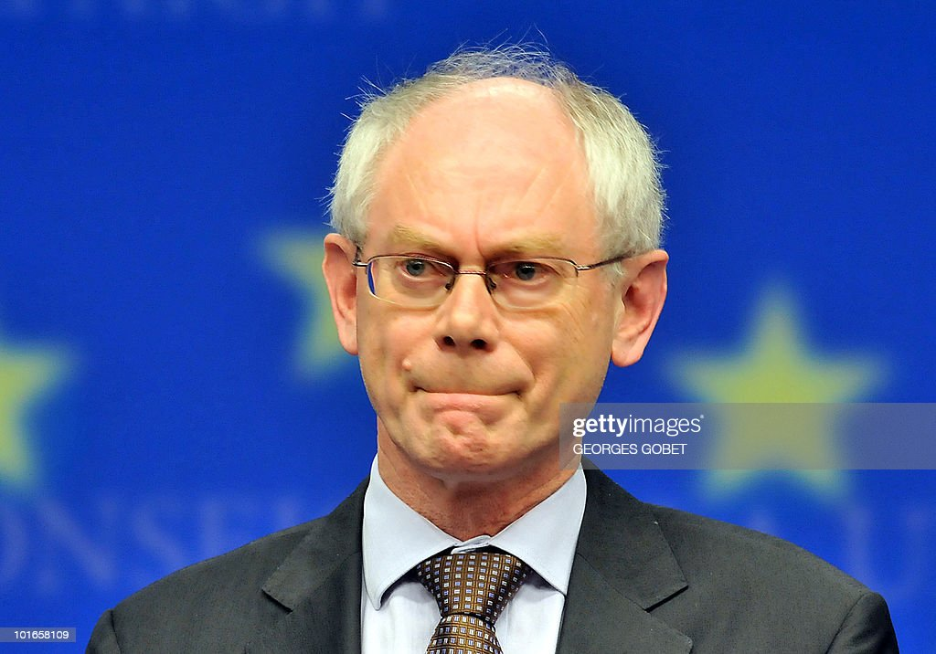 EU president Herman Van Rompuy grimaces during a press conference at the end of an Economy Task Force meeting at the EU headquarters on May 21, 2010 at the EU headquarters, in Brussels. European ministers headed for landmark talks on curbing overspending on May 21 amid global turmoil over the eurozone debt crisis and signs of damage to economic recovery.