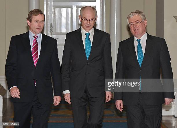 President Herman Van Rompuy is welcomed by Irish President Enda Kenny and Irish Minister for Foreign Affairs and Trade, Eamon Gilmore in Dublin,...