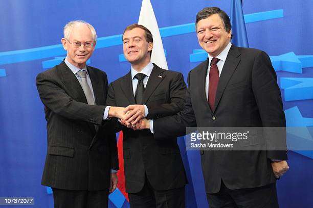 President Herman van Rompuy Russian President Dmitry Medvedev and EU Commission President Jose Manuel Barroso are seen during a group photo durinng...