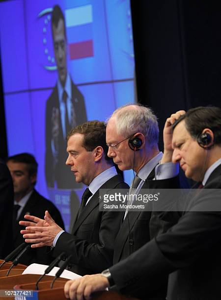 President Herman van Rompuy Russian President Dmitry Medvedev and EU Commission President Jose Manuel Barroso attend a joint press conference as part...
