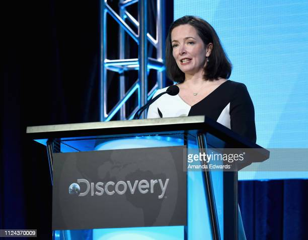 President HGTV Allison Page speaks onstage during the HGTV portion of the Discovery Communications Winter 2019 TCA Tour at the Langham Hotel on...
