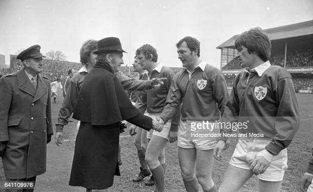 President Hillery shakes hands with the Irish Rugby Team at Lansdowne Road Dublin