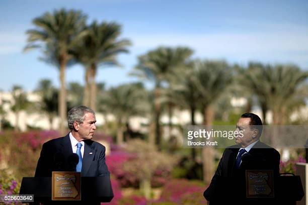 President Hosny Mubarak and US President George W Bush speak to the media after their meeting at the Four Seasons Resort in Sharm El Sheikh, Egypt.