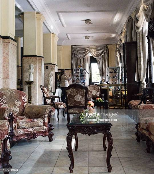 President Hotel or Hotel President interior designVintage wooden coffee table and sofa sets