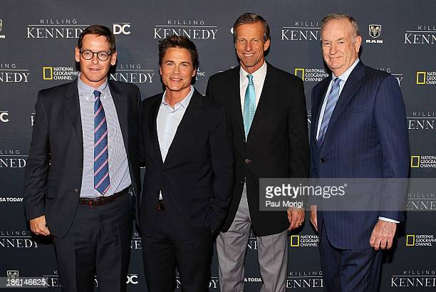 NGC President Howard T Owens actor Rob Lowe Sen John Thune and Bill O'Reilly of the 'O'Reilly Factor' attend the National Geographic Channel's...