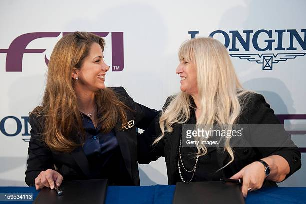 President HRH Princess Haya of Jordan and Chair of the Board of Directors of the Swatch Group Mrs Nayla Hayek sign a historic agreement at an...