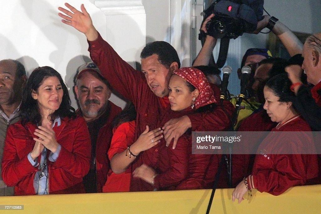 President Hugo Chavez Wins Re-election : News Photo