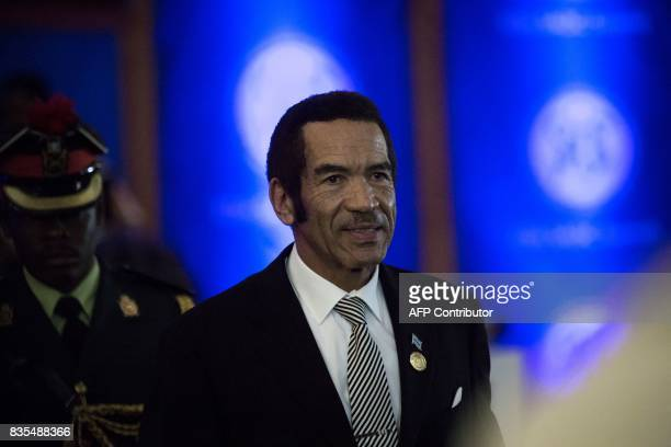 President Ian Khama of the Republic of Botswana arrives at the 37th Southern African Development Community Summit of Heads of State and Government at...