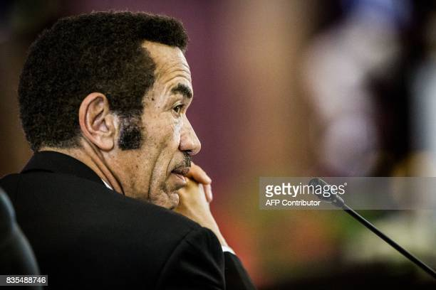 President Ian Khama of the Republic of Botswana is pictured at the 37th Southern African Development Community Summit of Heads of State and...