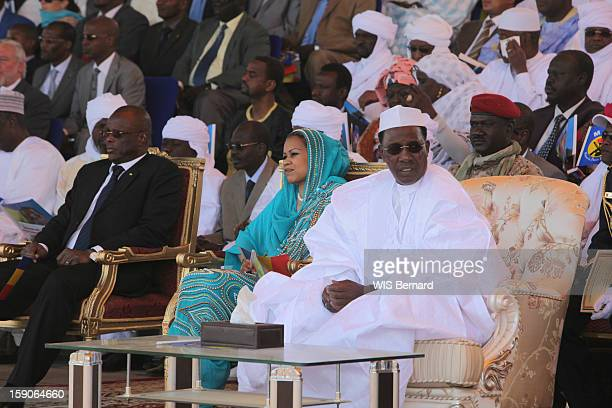 President Idriss Deby with his wife Hinda Deby and the delegation of Ministers on the official gallery on December 19 2012 in Biltine Chad
