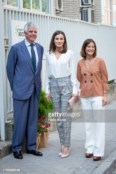 President Ignacio Muñoz Pidal and Queen Letizia of Spain arrive for a meeting at the AECC on July 01, 2019 in Madrid, Spain.