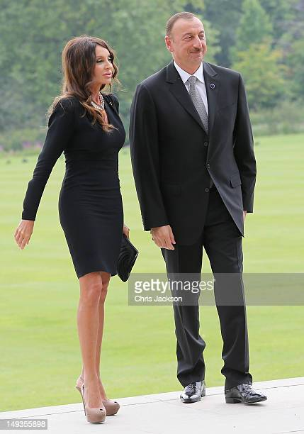 President Ilham Aliyev of Azerbaijan and First Lady Mehriban Aliyeva arrives for a reception at Buckingham Palace for Heads of State and Government...