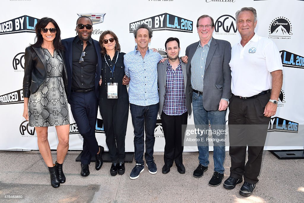 President, Imagine Television Francie Calfo, CEO, Lee Daniels, Principal, Little Chicken Productions Inc. Ilene Chaiken, Chairman, Imagine Entertainment Brian Grazer, Actor Danny Strong, Chief Film Critic and Awards Columnist, Deadline Hollywood Pete Hammond, and National Executive Director of Producers Guild of America Vance Van Petten attend the 7th Annual Produced By Conference at Paramount Studios on May 31, 2015 in Hollywood, California.
