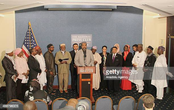 President Imam Mohamed Magid speaks during a news conference with represetatives of the Council of Muslim Organizations at the National Press Club in...