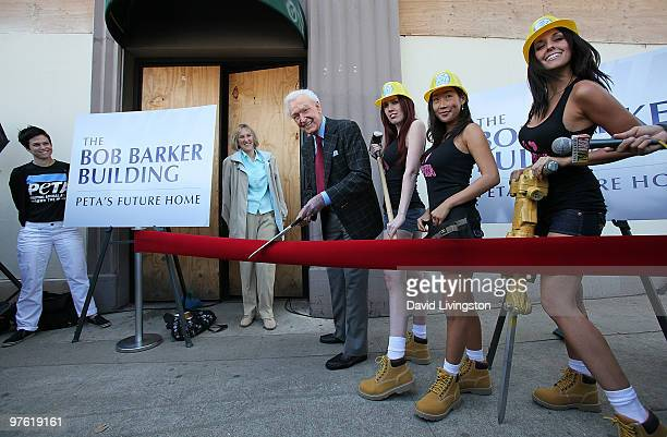 PETA president Ingrid E Newkirk and TV personality Bob Barker attend the dedication ceremony for PETA's Los Angeles office The Bob Barker Building on...