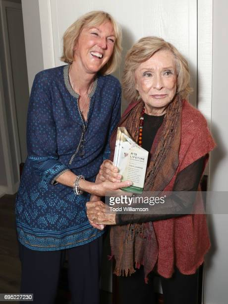 President Ingrid Newkirk and Cloris Leachman poses after Cloris receives the Lifetime Achievement Award at a PETA Fundraising Event at a Private...