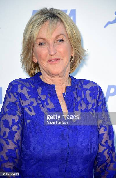 President Ingrid Newkirk arrives at PETA's 35th Anniversary Party at Hollywood Palladium on September 30 2015 in Los Angeles California