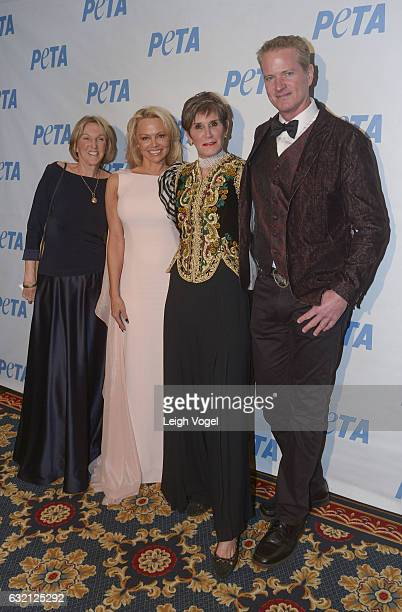 President Ingrid Newkirk Pamela Anderson political strategist Mary Matalin and PETA Senior Vice President Dan Mathews attend PETA's Animals' Party at...