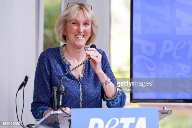 President Ingrid Newkirk speaks during the PETA Fundraising Event at Private Residence on June 11 2017 in Malibu California