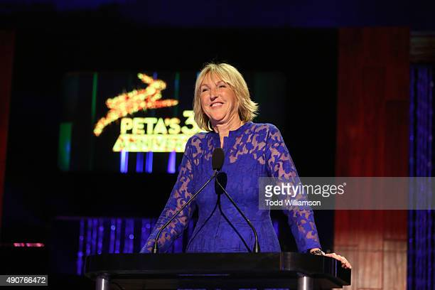 President Ingrid Newkirk speaks onstage at PETA's 35th Anniversary Party at Hollywood Palladium on September 30 2015 in Los Angeles California