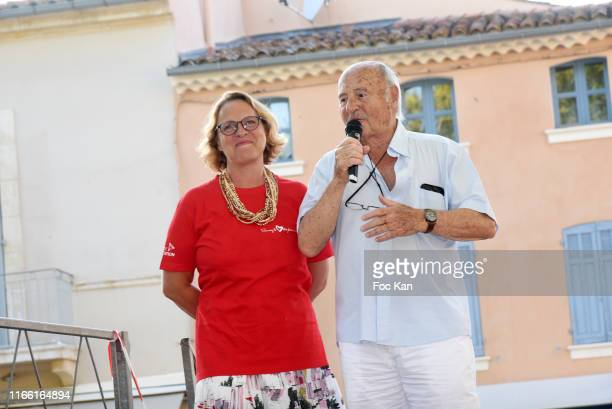 AJILA president Isabelle Weill and Saint Tropez mayor Jean Pierre Tuveri attend the Red Petanque 2019 Sauvez Le Coeur des Femmes Auction Contest...