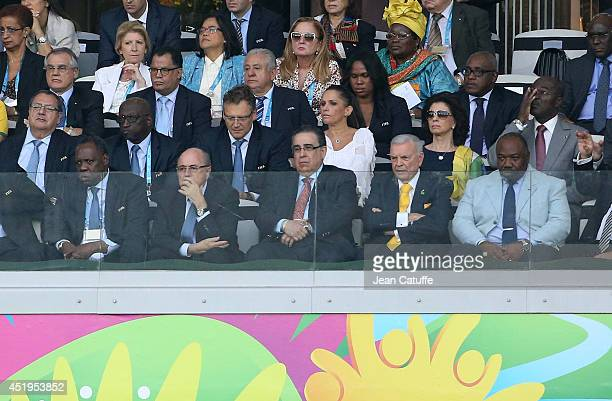 President Issa Hayatou FIFA President Sepp Blatter and President of Gabon Ali Bongo Ondimba attend the 2014 FIFA World Cup Brazil Semi Final match...