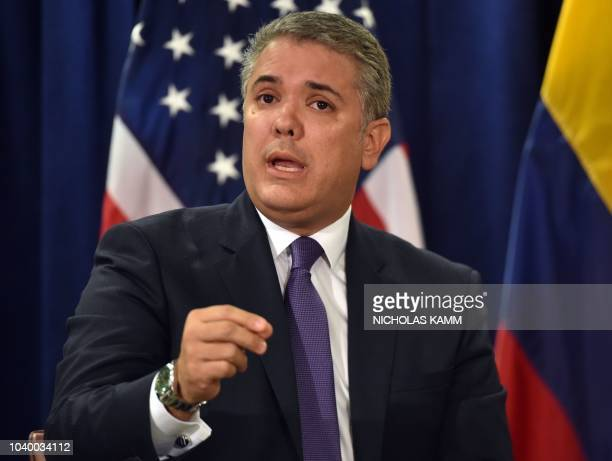 President Iván Duque of Colombia speaks during a meeting with US President Donald Trump at the United Nations in New York September 25 2018