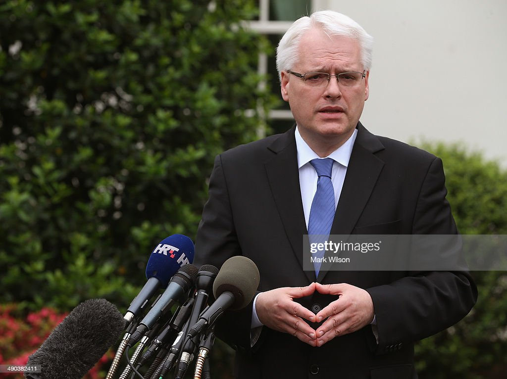 Croatian President Ivo Josipovic Speaks To The Media After Meeting With VP Biden