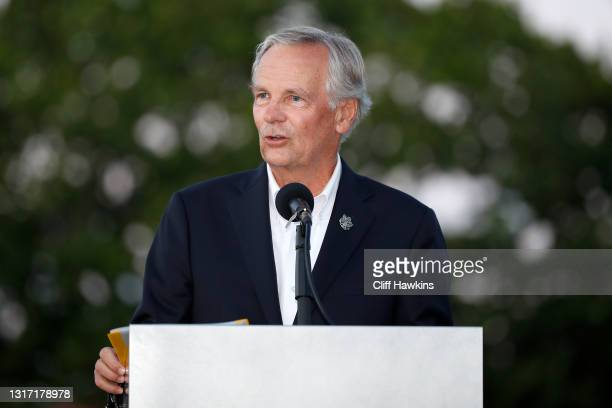 President J. Stuart Francis addresses the crowd on Day Two of The Walker Cup at Seminole Golf Club on May 09, 2021 in Juno Beach, Florida.