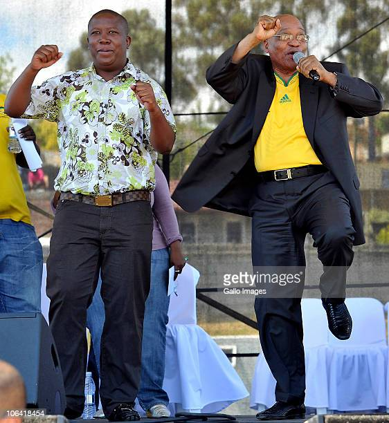 President Jacob Zuma and ANCYL leader Julius Malema address the crowd gathered at the rally and celebration of the ANCYL's 66th anniversary at...