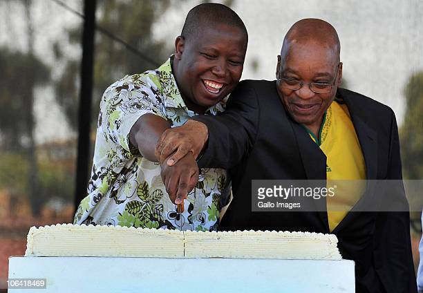 President Jacob Zuma and ANCYL leader Julius Malema cut the cake at the rally and celebration of the ANCYL's 66th anniversary at Coetzenburg Stadium...
