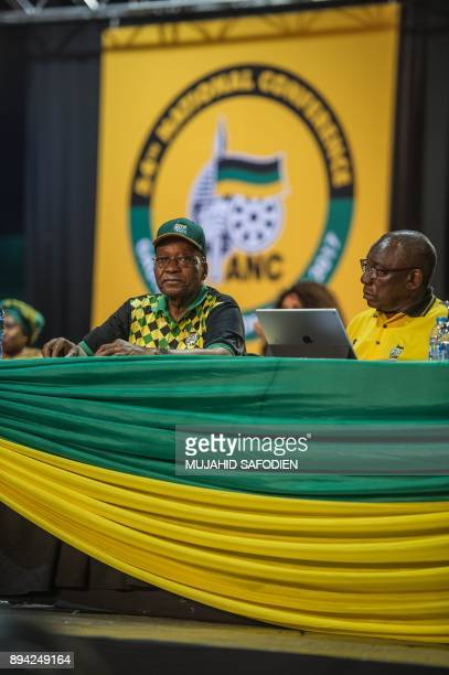 President Jacob Zuma and Deputy President Cyril Ramaphosa listen to delegates disputing votes at the NASREC Expo Centre during the 54th ANC national...
