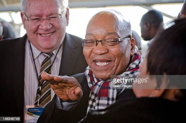 President Jacob Zuma and Gautrain Management CEO Jack van der Merwe ride public transportion during rush hour from the Sandton Gautrain station on...