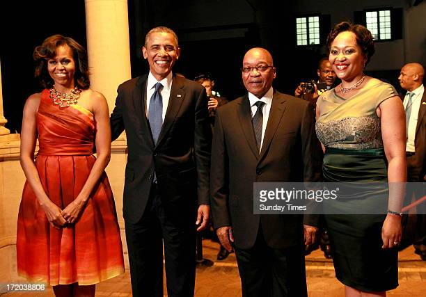 President Jacob Zuma and his wife Thobeka Mabida welcome President Barak Obama and his wife Michelle at a Gala dinner held in honour of Obama's visit...