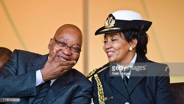 President Jacob Zuma and Minister of Defence Lindiwe Sisulu smile during the Freedom Day Celebrations held at Freedom Park on April 27 2011 in...
